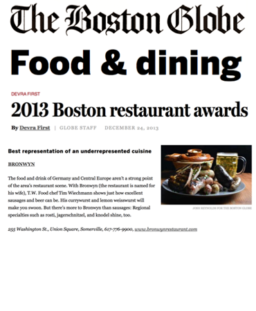 Boston Globe - 2013 Boston Restaurant Awards - Bronwyn