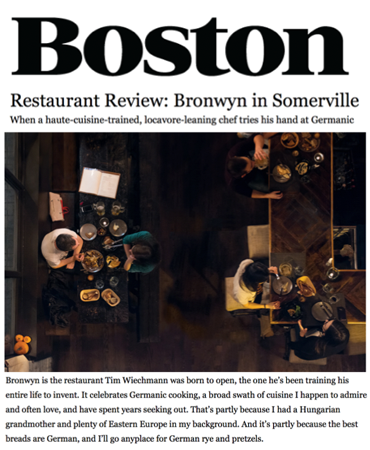 Boston Magazine - Restaurant Review: Bronwyn in Somerville - Bronwyn