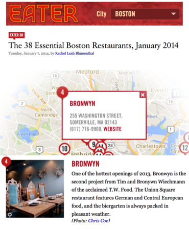 Eater Boston - The 38 Essential Boston Restaurants, January 2014 - Bronwyn
