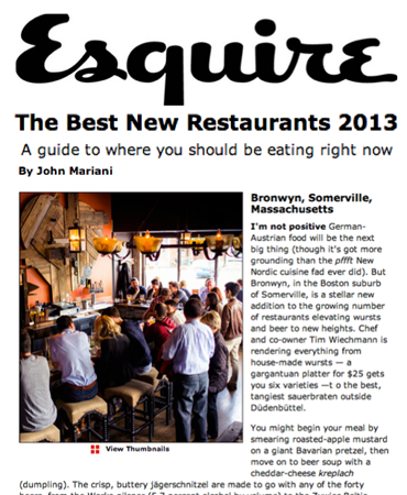 Esquire - The Best New Restaurants 2013 - Bronwyn