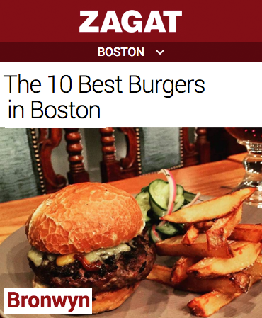 Zagat 2015 - Best Burgers in Boston