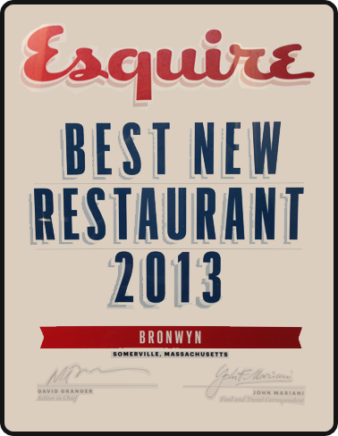 Esquire - Best New Restaurant 2013 - Bronwyn
